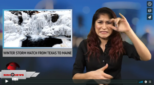Sign 1 News with Crystal Cousineau - Winter storm watch from Texas to Maine (ASL 1.16.18)
