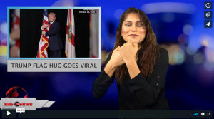 Sign 1 News with Crystal Cousineau - Trump flag hug goes viral (ASL - 6.20.18)