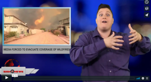 Sign 1 News with Jethro Wooddall - Media forced to evacuate coverage of wildfires (ASL - 8.10.18)