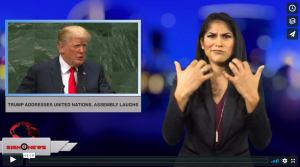 Sign 1 News with Crystal Cousineau - Trump addresses United Nations, assembly laughs (ASL - 9.25.18)