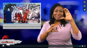 Sign 1 News with Candace Jones - Indonesia earthquake and Tsunami kills more than 800 (ASL - 9.30.18)