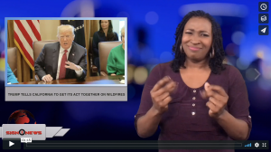 Sign 1 News with Candace Jones - Trump tells California to get its act together on wildfires (ASL - 10.17.18)