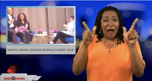 Sign1News anchor Candace Jones - Barack Obama crashes Michelle's book tour