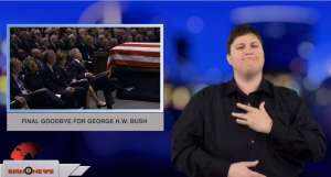 Sign1News anchor Jethro Wooddall - Final goodbye for George H.W. Bush (ASL - 12.6.18)