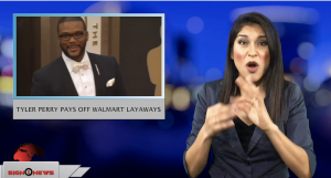 Sign1News anchor Crystal Cousineau - Tyler Perry pays off Walmart layaways (ASL - 12.7.18)