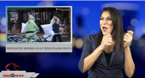 Sign1News anchor Crystal Cousineau - Firefighter dressed as elf picks pillow fights (ASL - 12.7.18)