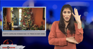 Sign1News anchor Crystal Cousineau - North Carolina woman has 175 trees in her home (ASL - 12.23.18)