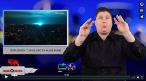 Sign 1 News with Jethro Wooddall - Explosion turns NYC skyline blue (ASL - 12.28.18)