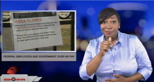 Sign1News anchor Candace Jones - Federal employees sue government over no pay (ASL - 1.1.19)