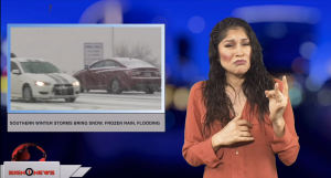 Sign1News anchor Crystal Cousineau - Southern winter storms bring snow, frozen rain, flooding (ASL - 1.4.19)