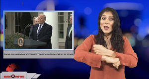 Sign1News anchor Crystal Cousineau - Trump prepared for government shutdown to last months, years (ASL - 1.4.19)