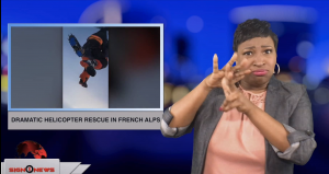 Sign1News anchor Candace Jones - Dramatic helicopter rescue in French Alps (ASL - 1.9.19)