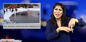 Sign1News anchor Crystal Cousineau - Boy rescued after falling through ice (ASL - 1.14.19)