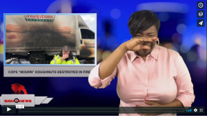 """Sign 1 News with Candace Jones - Cops """"mourn"""" doughnuts destroyed in fire (ASL - 1.2.19)"""