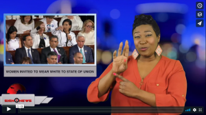 Sign 1 News with Candace Jones - Women invited to wear white to State of the Union (ASL - 1.30.19)