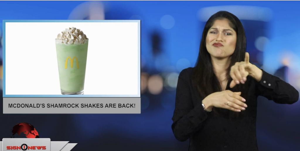 Sign1News anchor Jethro Wooddall - McDonald's Shamrock Shakes are back! (ASL - 2.16.19)