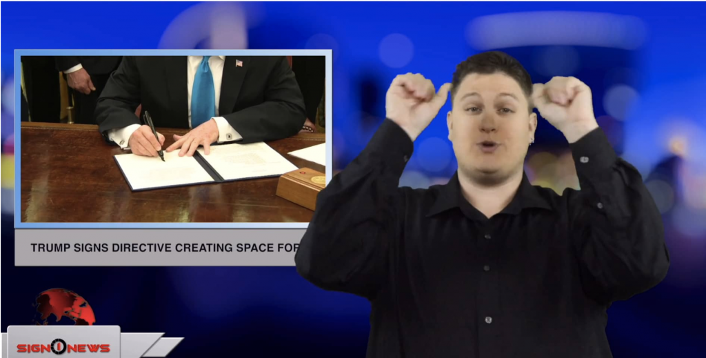 Sign1News anchor Jethro Woodall - Trump signs directive creating space force (ASL - 2.19.19)