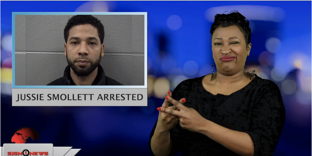 Sign1News anchor Candace Jones - Jussie Smollett arrested (ASL - 2.21.19)