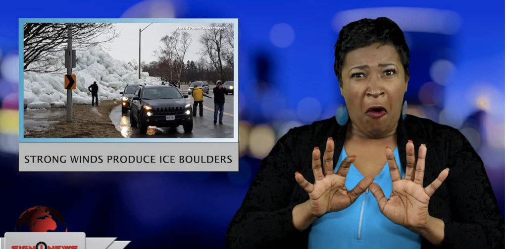 Sign1News anchor Candace Jones - Strong winds produce ice boulders (ASL - 2.25.19)