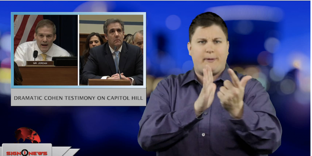 Sign1News anchor Jethro Wooddall - Dramatic Cohen testimony on Capitol Hill (ASL - 2.27.19)