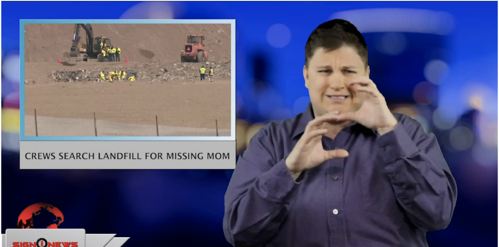 Sign1News anchor Jethro Wooddall - Crews search landfill for missing mom (ASL - 2.27.19)