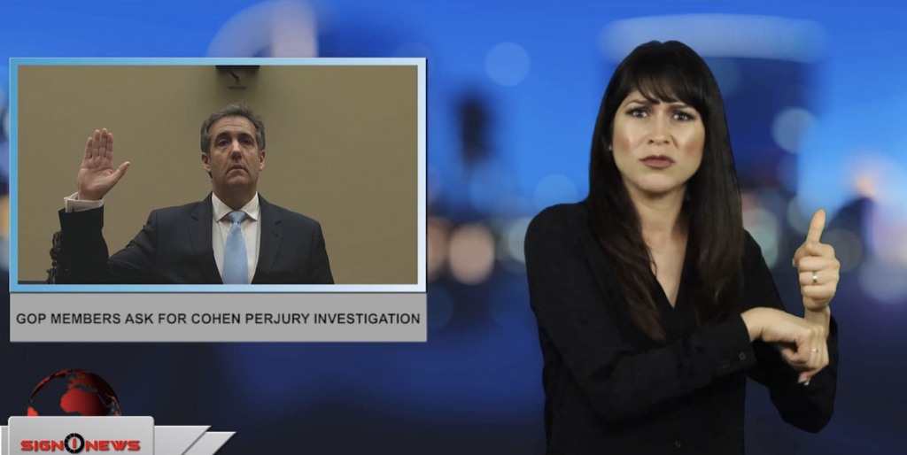 Sign1News anchor Crystal Cousineau - GOP members ask for Cohen perjury investigation (ASL - 2.28.19)