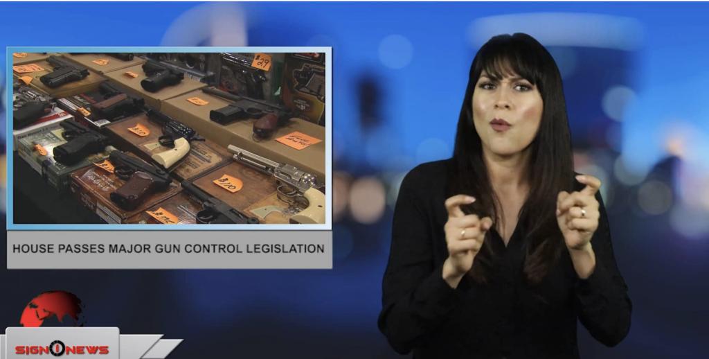 Sign1News anchor Crystal Cousineau - House passes major gun control legislation (ASL - 2.28.19)
