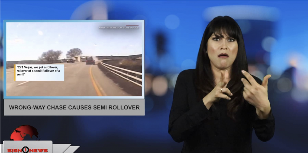 Sign1News anchor Crystal Cousineau - Wrong-way chase causes semi rollover (ASL - 2.28.19)