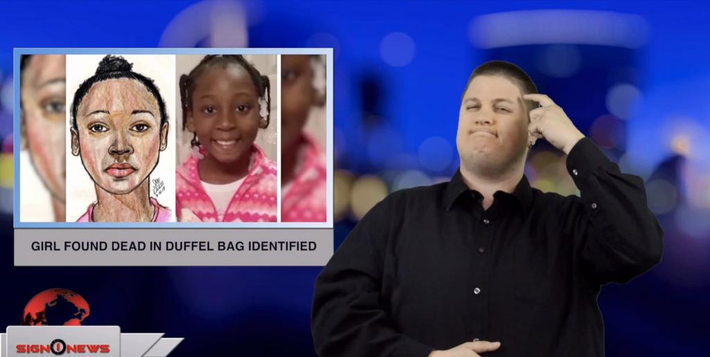Sign1News anchor Jethro Wooddall - Girl found dead in duffle bag identified (ASL - 3.11.19)