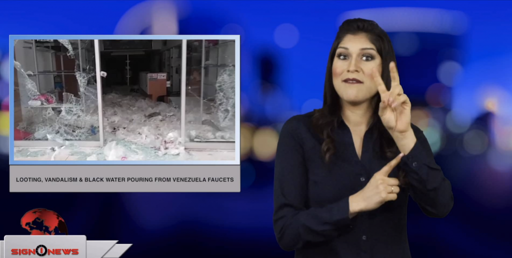 Sign1News anchor Crystal Cousineau - Looting, vandalism & black water pouring from Venezuela faucets (ASL - 3.14.19)
