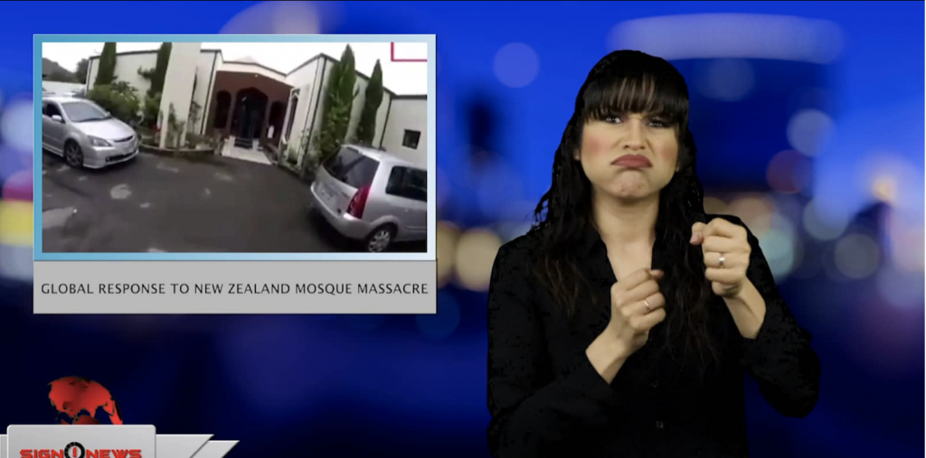Sign1News anchor Crystal Cousineau - Global response to New Zealand mosque massacre (ASL - 3.15.19)