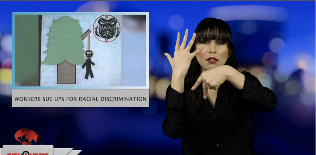 Sign1News anchor Crystal Cousineau - Workers sue UPS for racial discrimination (ASL - 3.15.19)