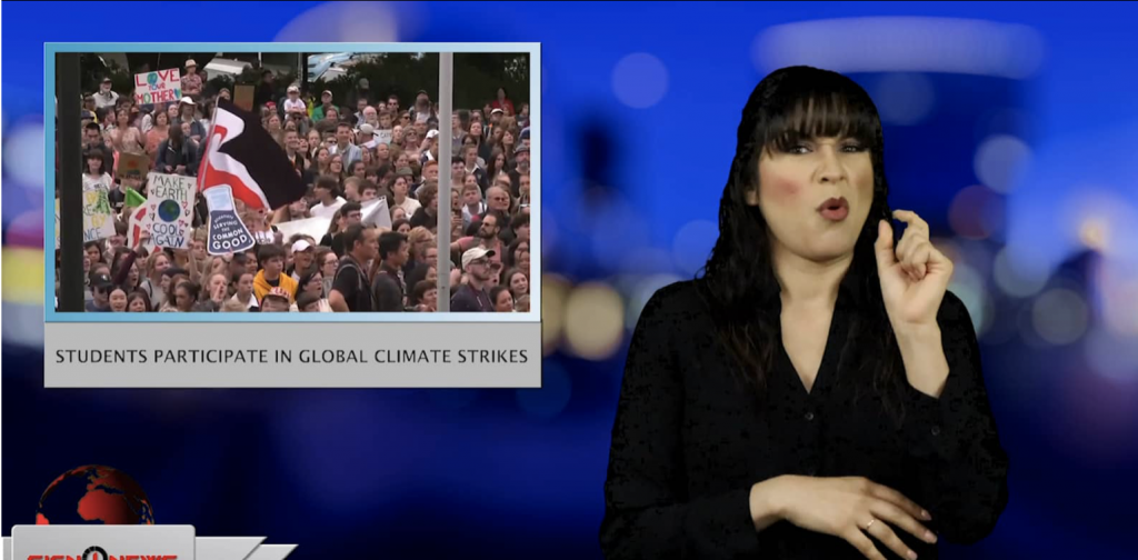Sign1News anchor Crystal Cousineau - Students participate in global climate strikes (ASL - 3.15.19)
