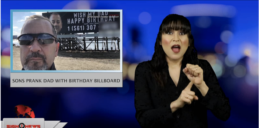Sign1News anchor Crystal Cousineau - Sons prank dad with birthday billboard (ASL - 3.15.19)