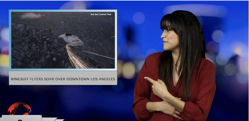 Sign1News anchor Crystal Cousineau - Wingsuit flyers soar over downtown Los Angeles (ASL - 3.21.19)