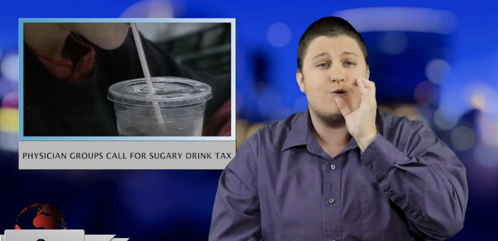 Sign1News anchor Jethro Wooddall - Physician groups call for sugary drink tax (ASL - 3.25.19)