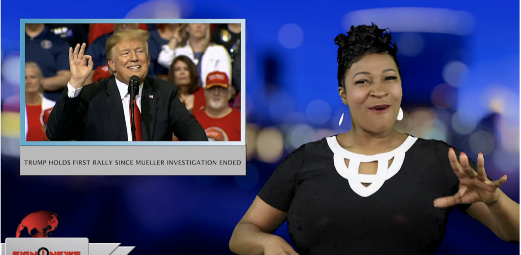 Sign1News anchor Candace Jones - Trump holds first rally since Mueller investigation ended (ASL - 3.29.19)