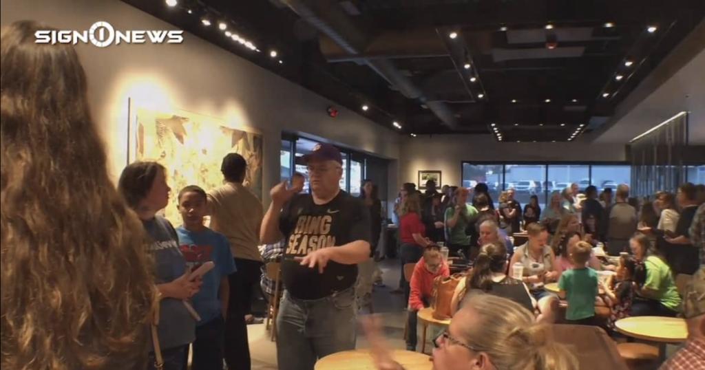Sign1News anchor Jethro Wooddall - Hundreds gather for South Carolina signing Starbucks night (ASL - 3.31.19)