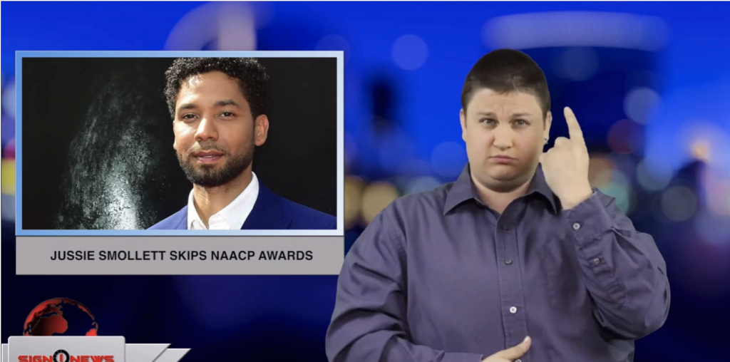 Sign1News anchor Jethro Wooddall - Jussie Smollett skips NAACP Awards (ASL - 3.31.19)
