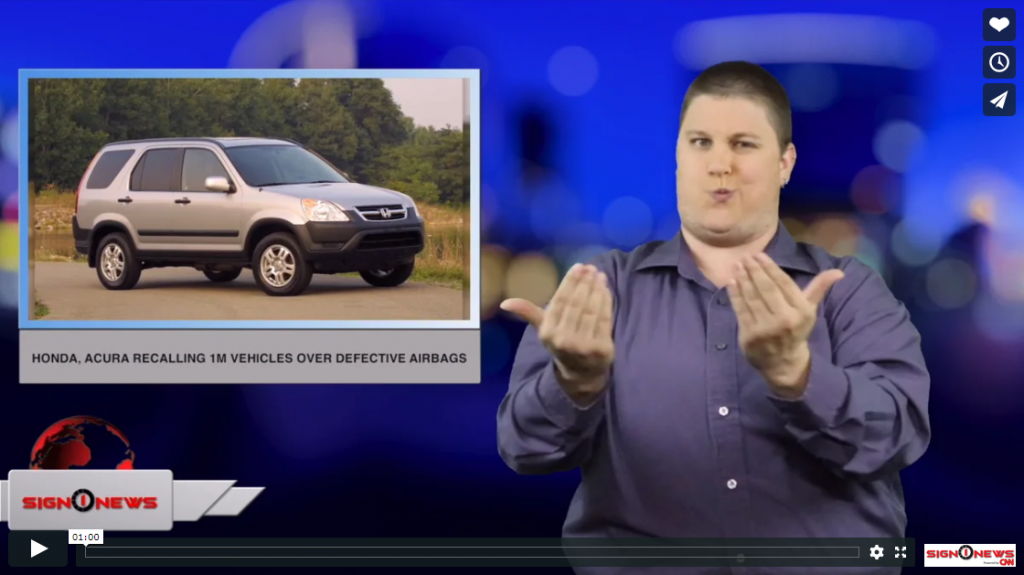 Sign 1 News with Jethro Wooddall - Honda, Acura recalling 1M vehicles over defective airbags (ASL - 3.13.19)