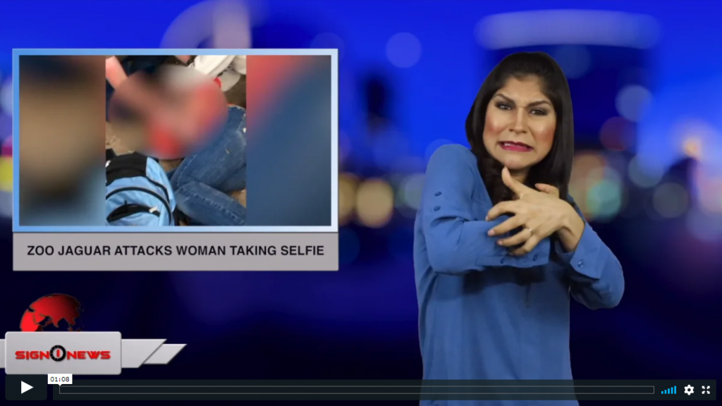 Sign 1 News with Crystal Cousineau - Zoo jaguar attacks woman taking selfie (ASL - 3.10.19)