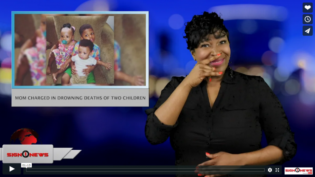 Sign 1 News with Candace Jones - Mom charged in drowning deaths of two children (ASL - 3.12.19)