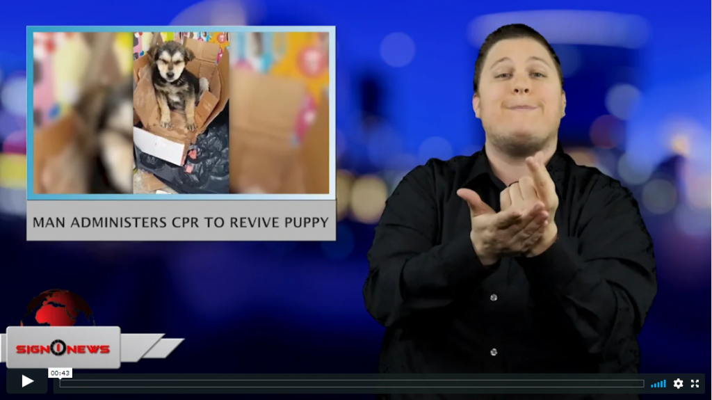 Sign 1 News with Jethro Wooddall - Man administers CPR to revive puppy (ASL - 3.27.19)