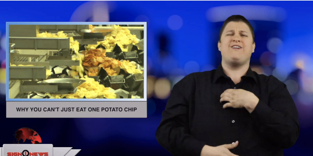 Sign1News anchor Jethro Wooddall - Why you can't just eat one potato chip (ASL - 4.1.19)
