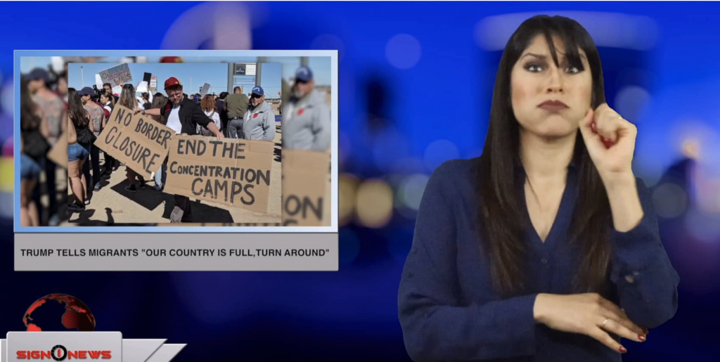 "Sign1News anchor Crystal Cousineau - Trump tells migrants ""our country is full, turn around"" (ASL - 4.6.19)"