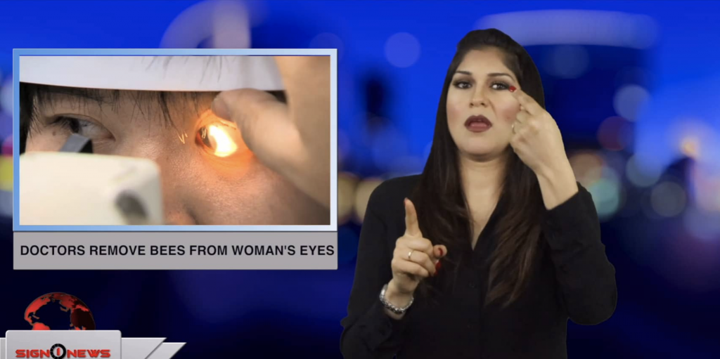 Sign1News anchor Crystal Cousineau - Doctors remove bees from woman's eyes (ASL - 4.12.19)