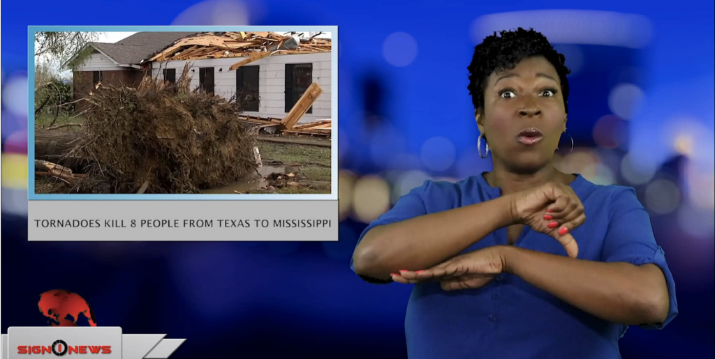 Sign1News anchor Candace Jones - Tornadoes kill 8 people from Texas to Mississippi (ASL - 4.15.19)