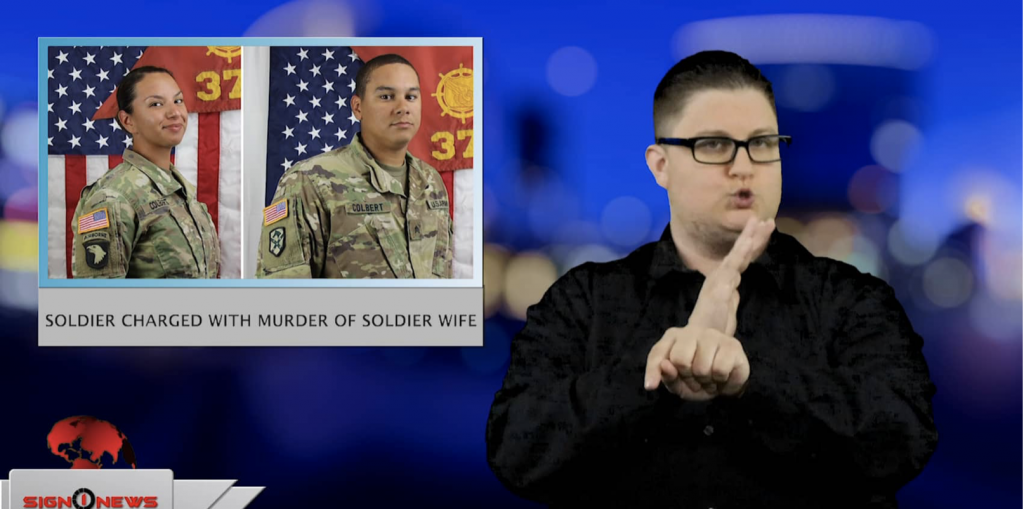 Sign1News anchor Jethro Wooddall - Soldier charged with murder of soldier wife (ASL - 4.18.19)