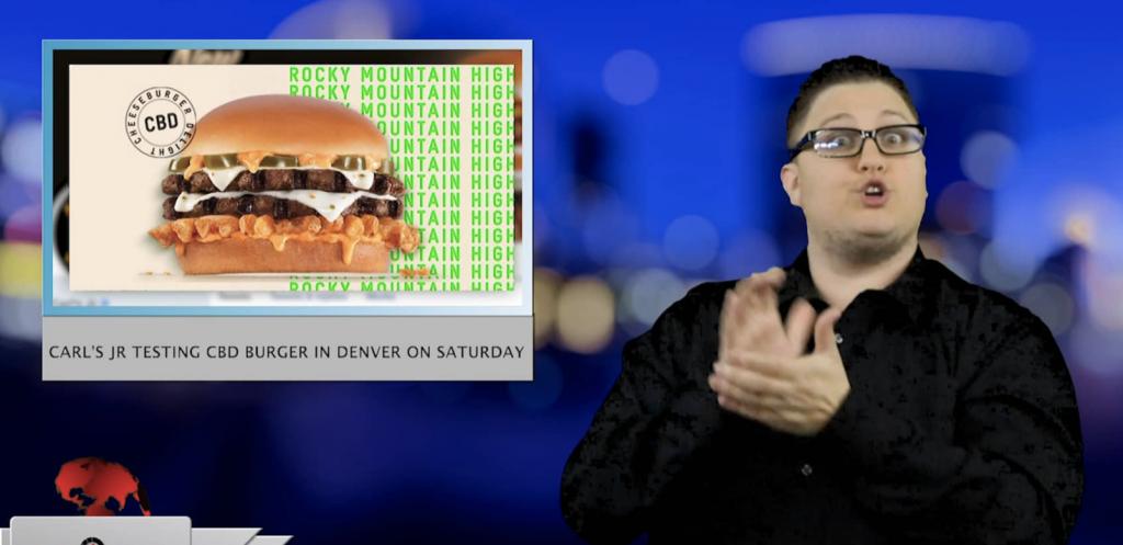 Sign1News anchor Jethro Wooddall - Carl's JR CBD burger in Denver on Saturday (ASL - 4.18.19)