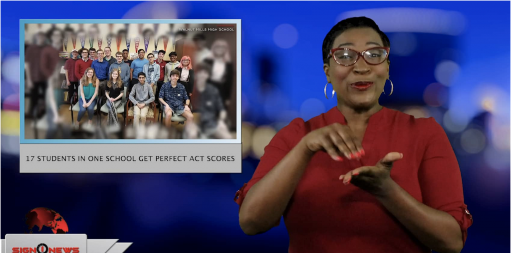 Sign1News anchor Candace Jones - 17 students in one school get perfect ACT scores (ASL - 4.27.19)